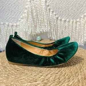 Jcrew velour emerald green flats 6.5 career velvet